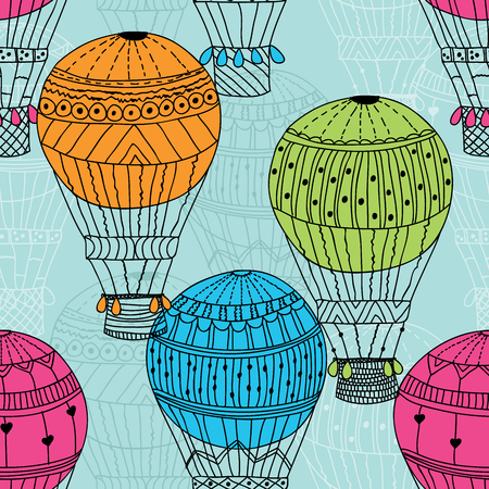 aerostat: Seamless pattern bright aerostat Vector eps10 Illustration