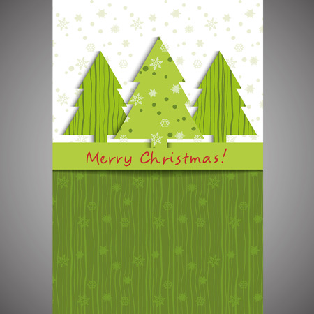 Christmas card Fir-tree and snowflake green Vector eps10