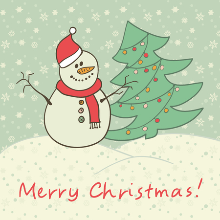 Christmas card snowman Vector eps10