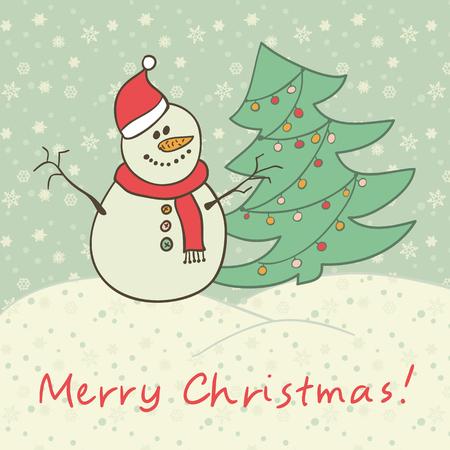 snowman vector: Christmas card snowman Vector eps10