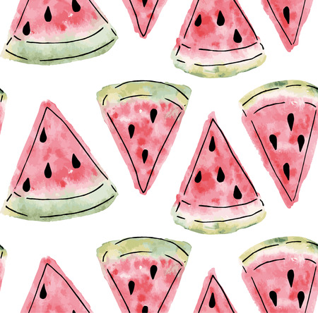 eps 10: Seamless pattern of sweet juicy pieces watermelon watercolor with seed Vector illustration eps 10