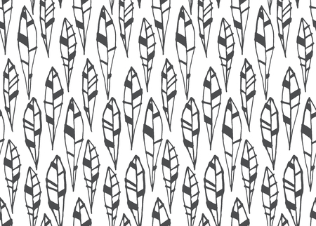 Seamless pattern of modern design black and white tiny leaf silhouette Illustration