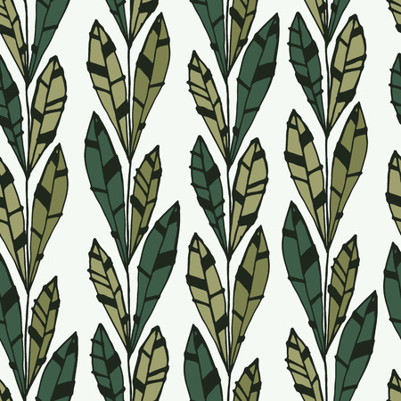 Seamless pattern of modern design tiny green leaf silhouette