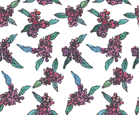 Seamless vintage pattern of elegant cute watercolor flower