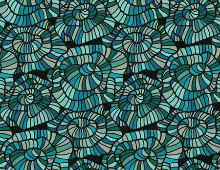 Seamless pattern of modern design azure flower silhouette