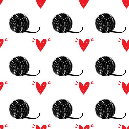 Naadloos patroon huisdier achtergrond met rood hart illustratie Stock Illustratie