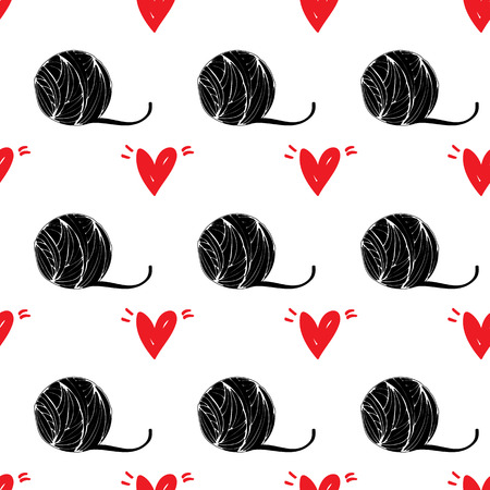 Seamless pattern pet background with red heart illustration