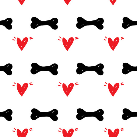 petshop: Seamless pattern pet background with red heart illustration