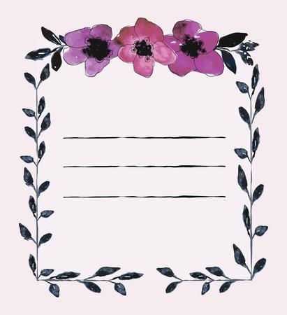Watercolor card templates for wedding invitation Stock Illustratie