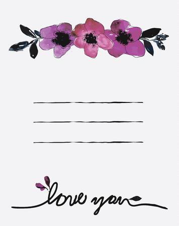 Watercolor card templates for wedding invitation Ilustracja