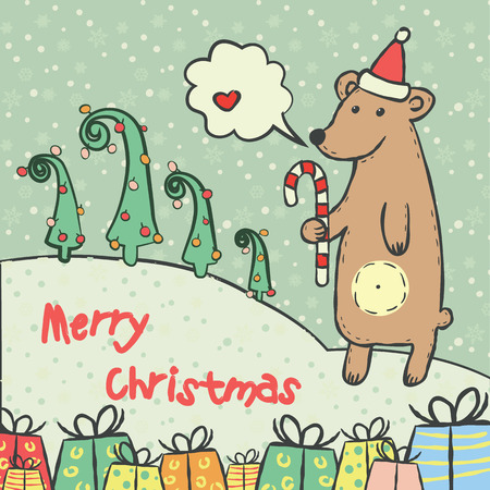 Christmas and new year 2016 card with cute bear on santa hat with candy cane  and snowflake