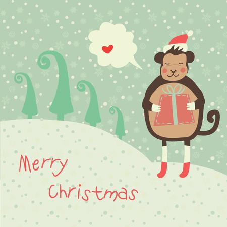 Kerstmis en Nieuwjaar 2016 kaart met schattige aap op kerstmuts met rode geschenk en sneeuwvlok Stock Illustratie