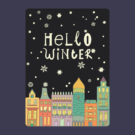 Christmas and New Year cards with bright color houses, snowflakes and stars. Illustration