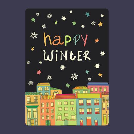 Kerst- en nieuwjaarskaarten met een felle kleur huizen, sneeuwvlokken en sterren. Stockfoto - 48581570