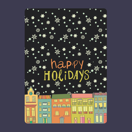 Christmas and New Year cards with bright color houses, snowflakes and stars. Stock Illustratie