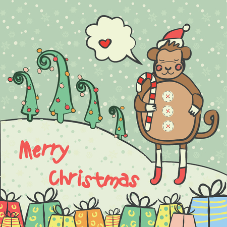 Christmas and new year 2016 card with cute monkey on santa hat with candy cane and snowflake Illustration