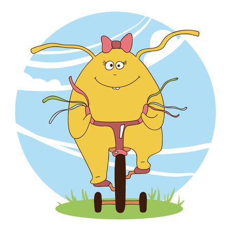 Yellow cute girl monster on a bike for invitation, background, banner, textile, poster, postcard Illustration