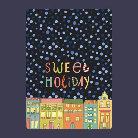 Kerstmis en Nieuwjaar kaarten met felle kleuren huizen, sneeuwvlokken en sterren. Inscriptie zoete vakantie vectorillustratie Stockfoto - 48581578