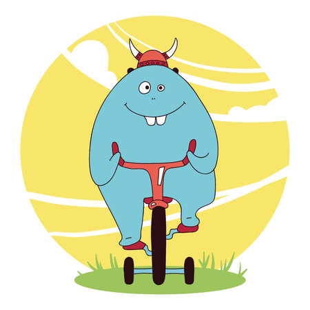 Blue cute boy monster on a bike, gifts for invitation, background, banner, textile, poster, icon, postcard, birthday cards, print on shirt Vector illustration Illustration