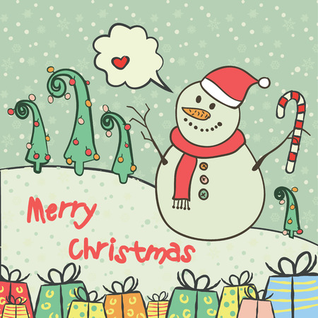Christmas and new year 2016 card with cute snowman on santa hat with candy cane and snowflake, green fir-tree, gifts and with chat bubble for text with heart Vector illustration