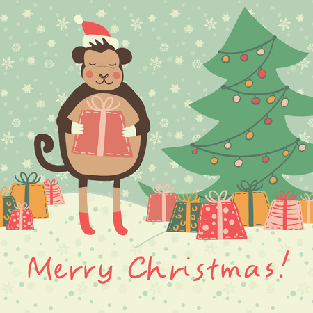 Christmas and new year 2016 card with cute monkey on santa hat with  red gift and snowflake, green fir-tree Vector illustration
