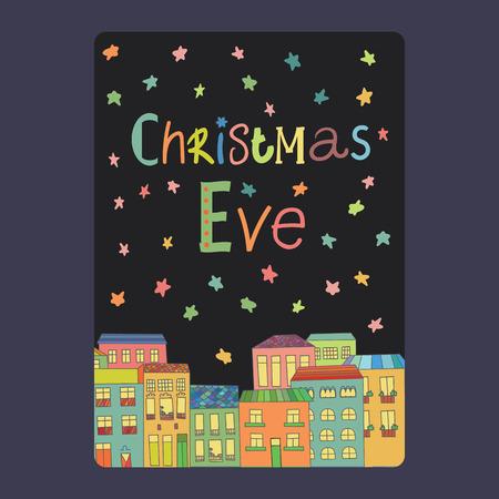 Kerst- en nieuwjaarskaarten met een felle kleur huizen, sneeuwvlokken en sterren. Inschrijving kerstavond Vector illustratie Stock Illustratie