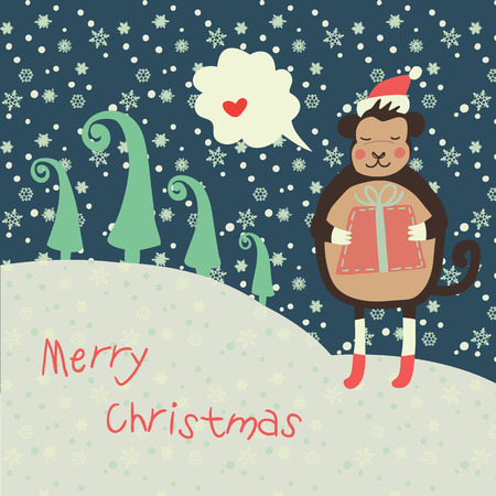 Christmas and new year 2016 card with cute monkey on santa hat with red gift  and snowflake, green fir-tree and with chat bubble for text with heart on  dark blue sky Vector illustration