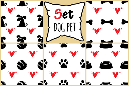 Set of seamless pattern for card, paper, scrapbook, wrapping, backdrop,texture, wallpaper, cover. Black and white Pet backgrounds with red hears Vector illustration