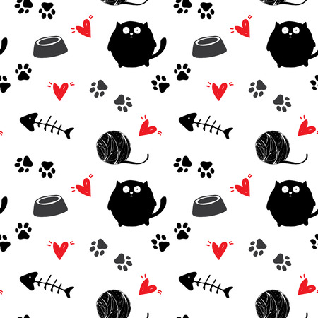 Seamless pattern for card, paper, scrapbook, wrapping, backdrop,texture. Pet background with red hears Vector illustration Ilustracja