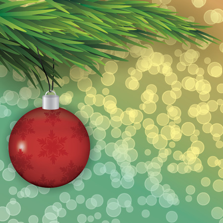 Christmas tree branch with a toy Vector illustration