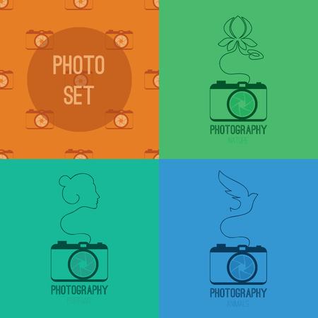 Fotoreeks blauw, groen symbool icoon met silhouet van de bloem waterlelie, vrouw gezicht, vogel en oranje naadloze pzttern met camera's Vector illustratie Stock Illustratie