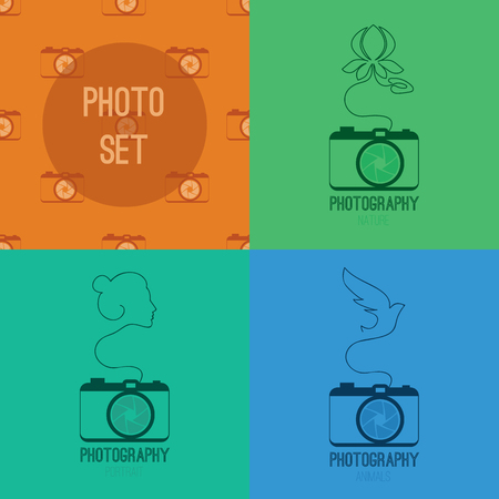 Set of photos blue, green symbol icon with silhouette of flower water lily, woman face, bird and orange seamless pzttern with cameras Vector illustration