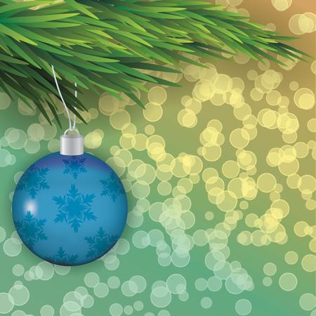 Kerstboom tak met een stuk speelgoed Vector illustratie Stockfoto - 48581601