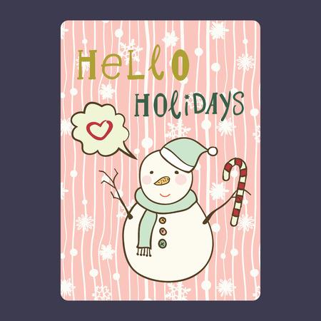 Cartes de Noël et Nouvel An avec un bonhomme de neige mignon sur un chapeau de père Noël avec de la canne à sucre et un flocon de neige, et avec un coeur de bulle de chat. Inscription hello holidays Vector illustration eps 10 Banque d'images - 66409985