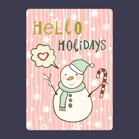 Kerstmis en Nieuwjaar kaarten met schattige sneeuwpop op kerstmuts met riet van het suikergoed en sneeuwvlok, en met praatje bubble hart. Inschrijving hello vakantie Vectorillustratie eps 10