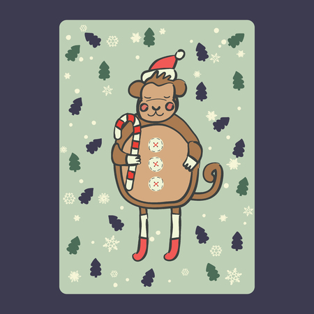 Christmas and New Year cards with cute monkey on santa hat with candy cane  and snowflake, green fir-tree. Vector illustration eps 10