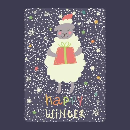 Kerstmis en Nieuwjaarskaarten leuke schapen en gift, sneeuwvlokken en sterren Vector de illustratie eps 10 van de inschrijvings gelukkige winter