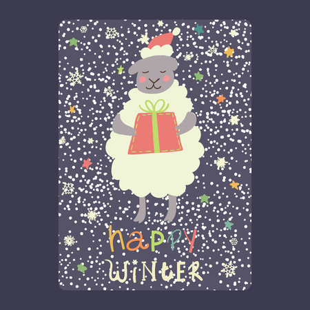 Christmas and New Year cards  cute sheep and gift, snowflakes and stars.Inscription happy winter Vector illustration eps 10 Illustration