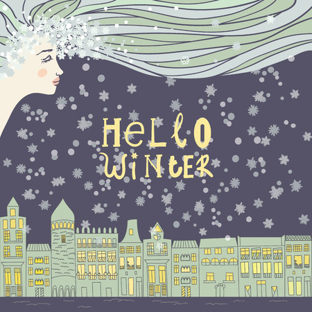 Christmas and New Year cards with bright color houses, snowflakes, stars and face of a young girl / women. Inscription hello winter Vector illustration Illustration