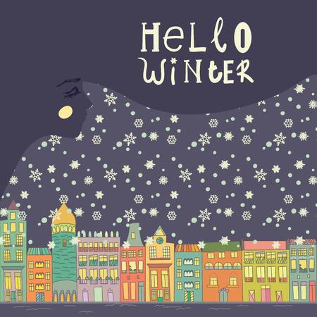 Kerst- en nieuwjaarskaarten met een felle kleur huizen, sneeuw, sterren en het gezicht van een jong meisje  vrouw. Inschrijving hello winter Vector illustratie