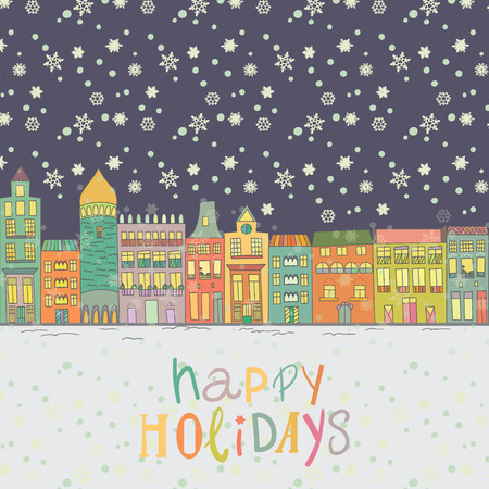 Christmas and New Year cards with bright color houses, snowflakes and stars. Inscription happy holidays Vector illustration