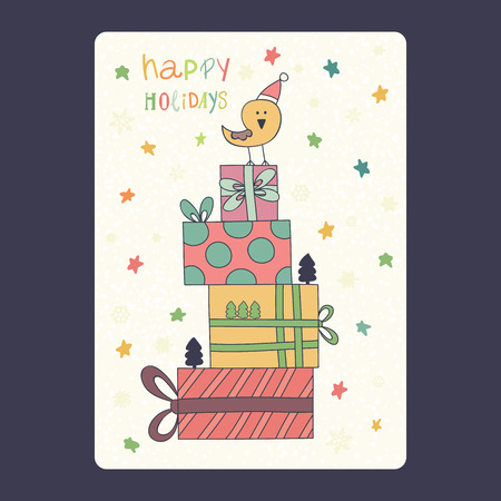 Christmas and New Year cards with cute bird on santa hat with gifts and snowflake and stars. Inscription happy holidays Vector illustration eps 10