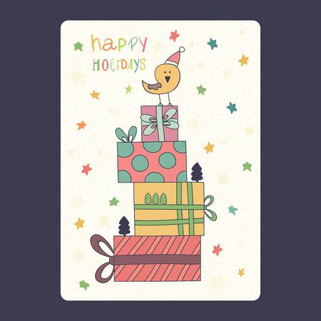 Kerstmis en Nieuwjaar kaarten met schattige vogel op kerstmuts met geschenken en sneeuwvlok en sterren. Gelukkige illustratie van de inschrijvings de gelukkige vakantie Vectorillustratie