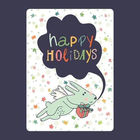 Christmas and New Year cards with cute blue bunny with wings, gift and snowflake and stars. Inscription happy holidays Vector illustration