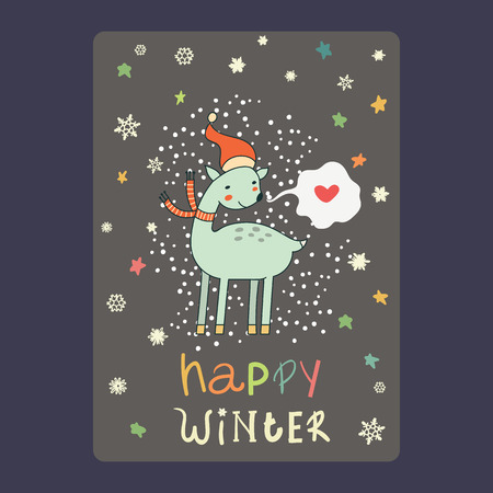 Christmas and New Year cards  cute deer on santa hat, snowflakes, stars and chat bubble with heart. Inscription happy winter Vector illustration