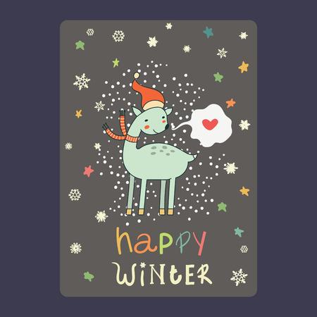 Kerstmis en Nieuwjaar kaarten schattige herten op kerstmuts, sneeuwvlokken, sterren en praatjebel met hart. Vectorillustratie van de inschrijvings de gelukkige winter Stockfoto - 66410031