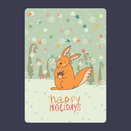 Christmas and New Year cards with cute squirrel with acorn  snowflakes, stars, green fir-tree. Inscription happy holidays Vector illustration