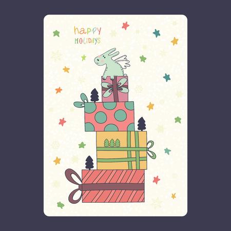 Kerstmis en Nieuwjaar kaarten met leuke blauwe konijntje met giften en sneeuwvlok en de sterren. Inscriptie happy holidays Vector illustratie