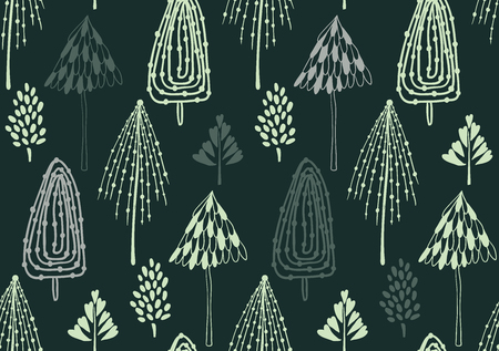 Beauty and cute christmas seamless pattern of fir-tree for textile, paper, wrap, scrapbook, background Vector illustration