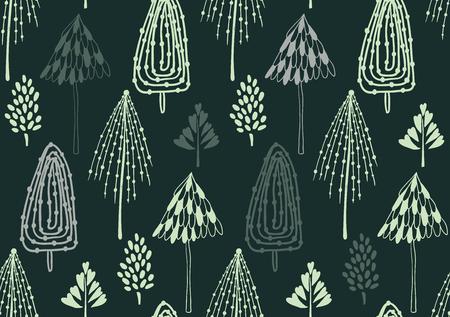 Schoonheid en leuke kerst naadloze patroon van de spar voor textiel, papier, omslag, plakboek, achtergrond Vector illustratie Stockfoto - 66410060